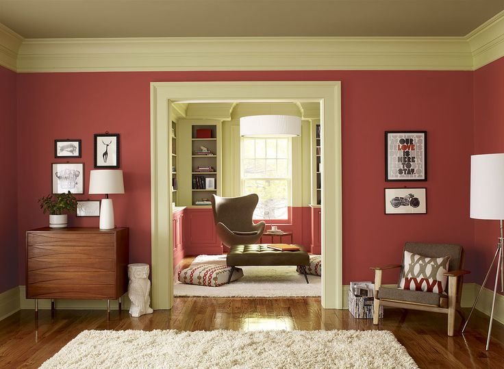 crisp coral living room - red parrot 1308 (walls), guilford green