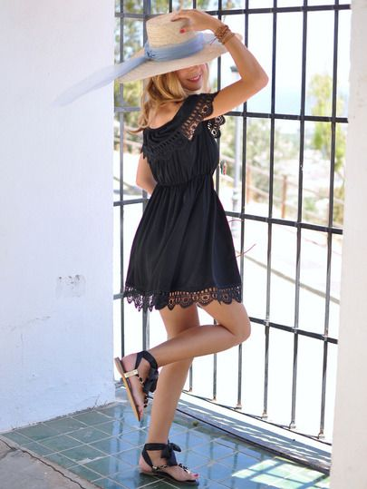 Black Off the Shoulder Lace Scalloped Casual Dress -SheIn(Sheinside)