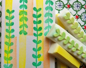 sprout rubber stamp   botanical plant stamp   garden stamp   circle hand carved stamp for spring crafts, diy, card making, block printing