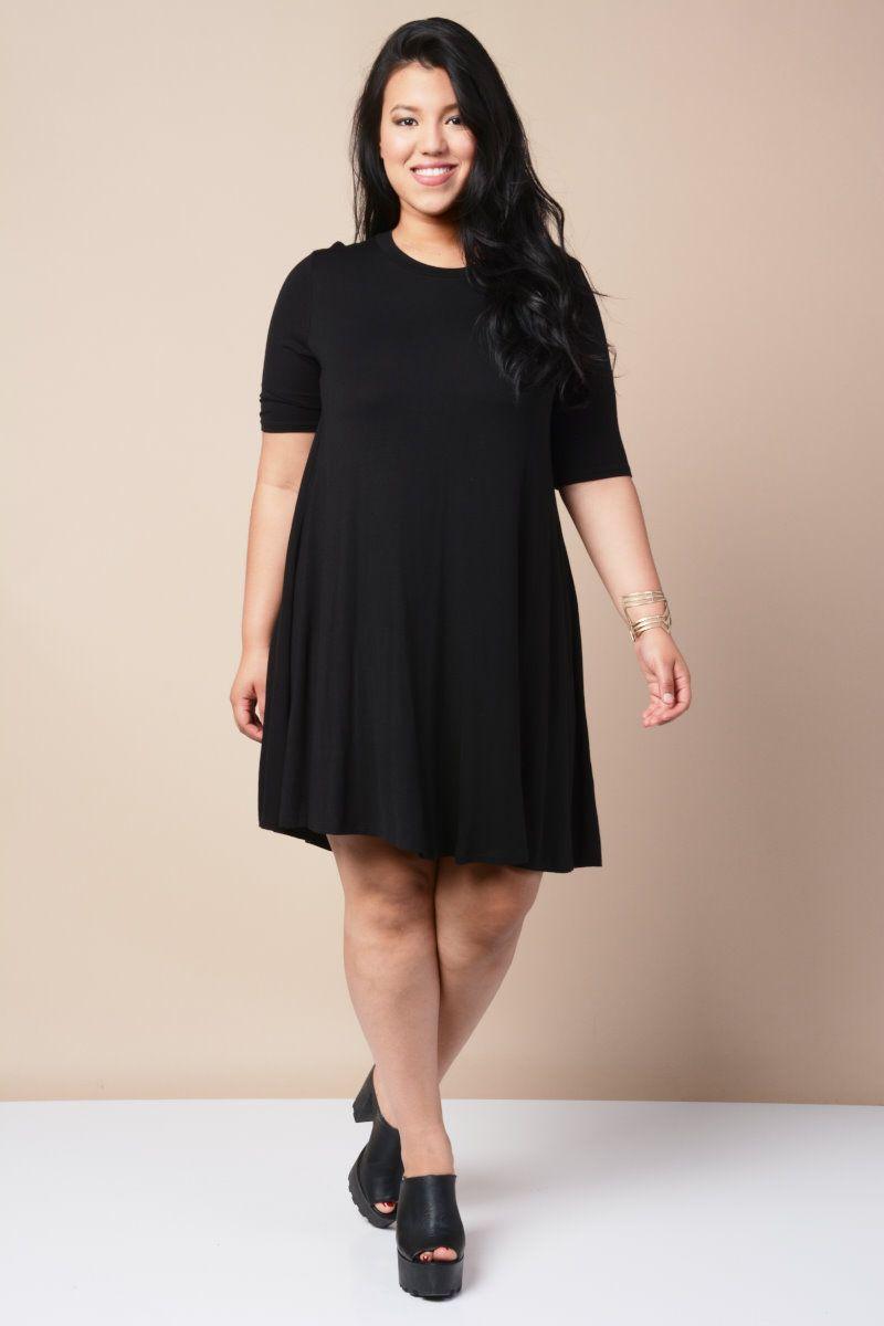 Plus size flannel shirt dress  Relaxed TShirt Dress  Plus Size Apparel  Pinterest  Teen