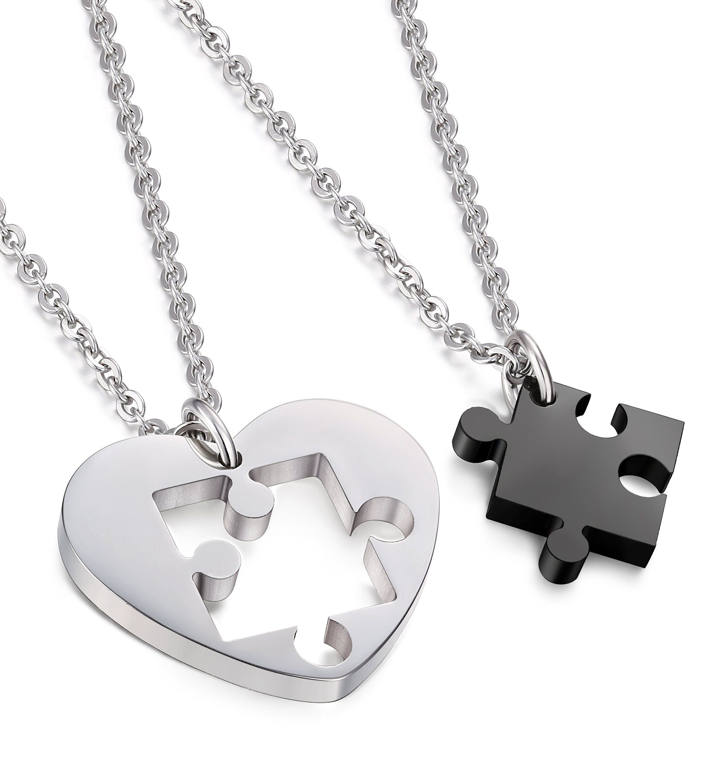 Fashion Stainless steel Puzzle Music Note love for him and her necklace