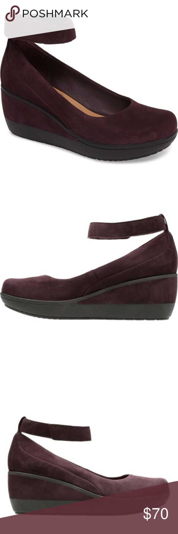 583bb36c2a1 Clarks Wynnmere Fox Close Toe Wedges Aubergine Everyone loves the Wynnmere  Fox Wedges from Clarks for