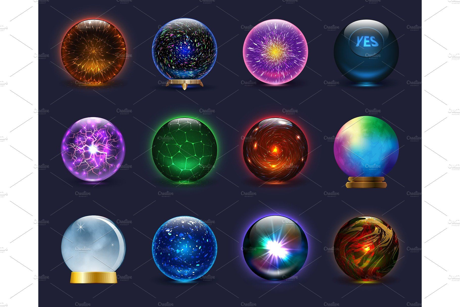 Magic Ball Vector Magical Crystal Glass Sphere And Shiny Lightning Transparent Orb As Prediction Soothsayer Illustration Magnificent Set Isolated On Background Crystal Drawing Orb Crystal Orb