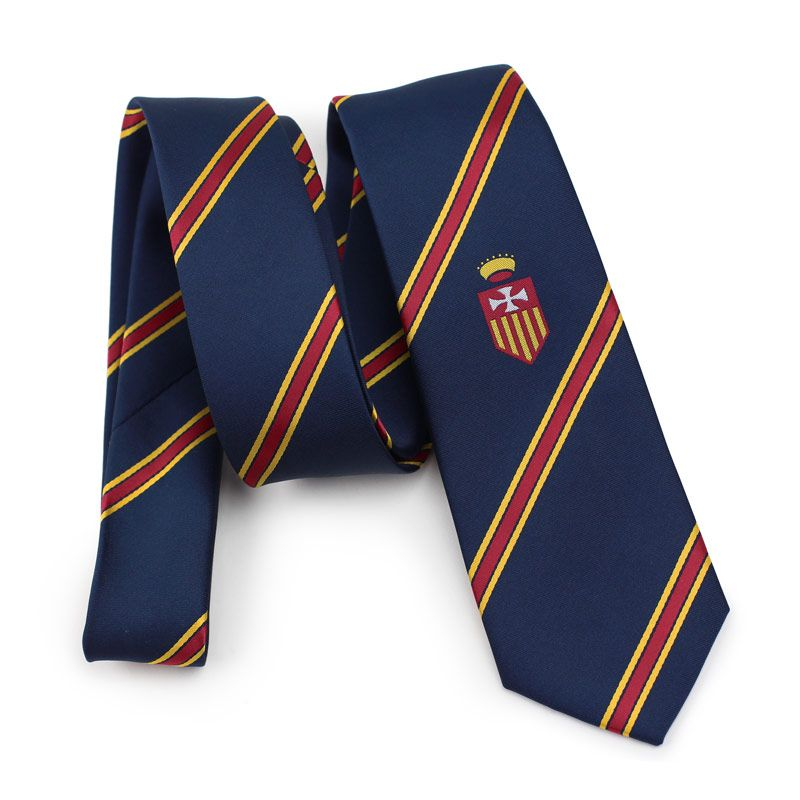 4c8de84b208d Custom Striped High School Uniform Ties in navy with red and yellow stripe