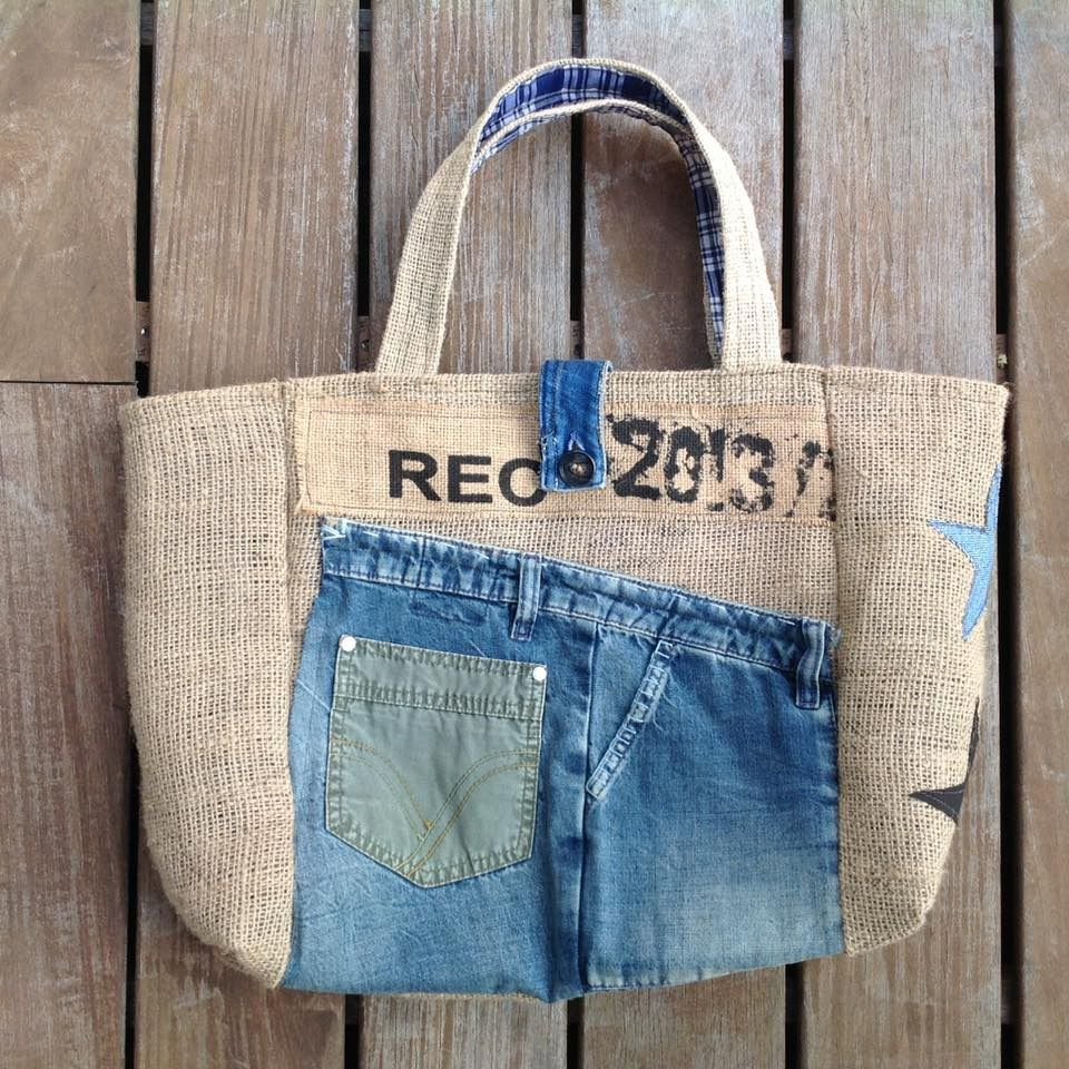 sac cabas en toile de jute et jeans xl sacs main par les damotes jeans bag. Black Bedroom Furniture Sets. Home Design Ideas