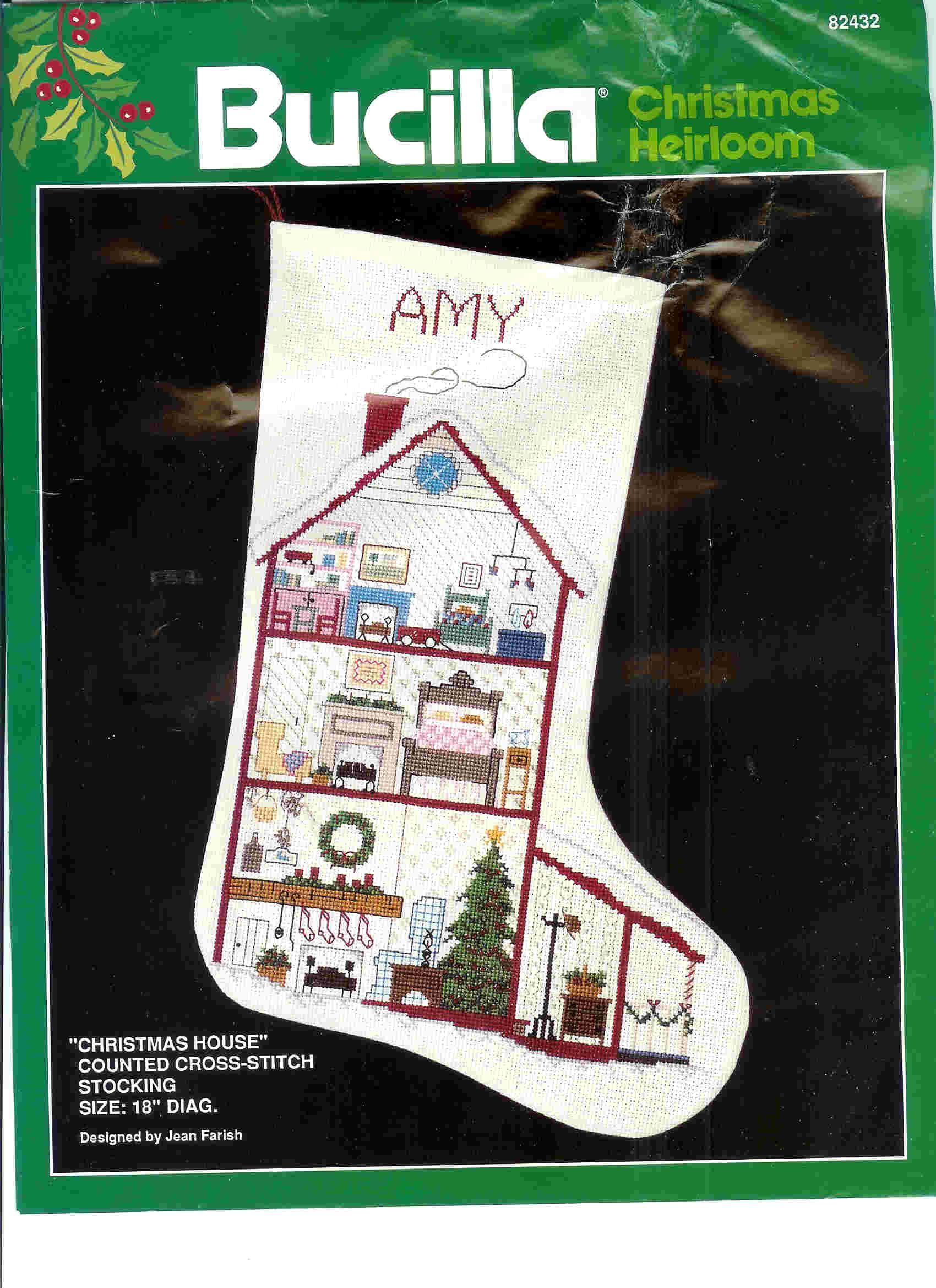 Bucilla Stocking Kit #82432 Jean Farish Design | Dollhouse Christmas ...