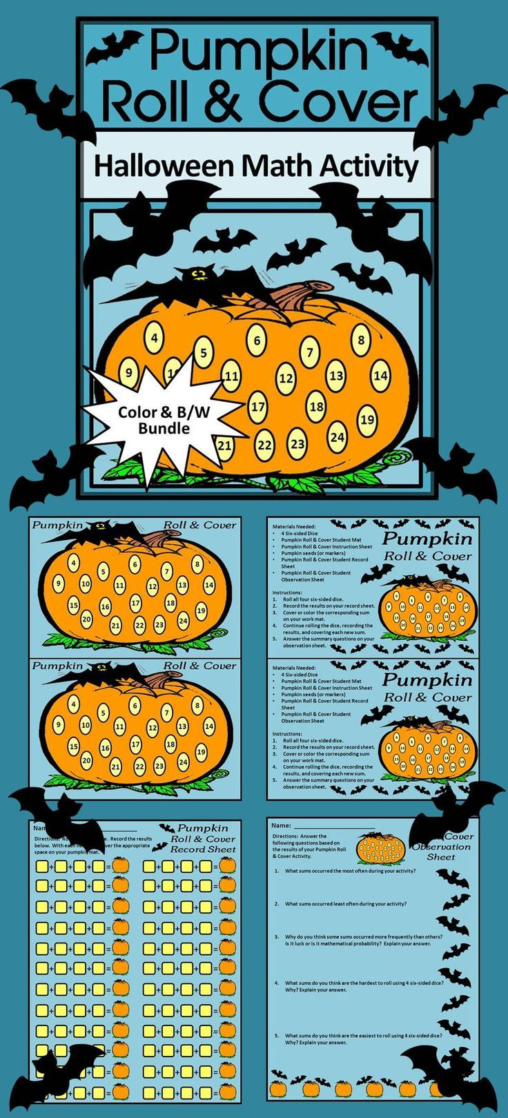 Pumpkin Activities: Pumpkin Roll & Cover Halloween Math Activity ...