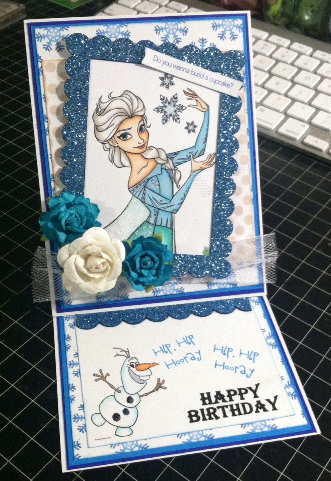 Frozen easel birthday card cards pinterest birthdays cards