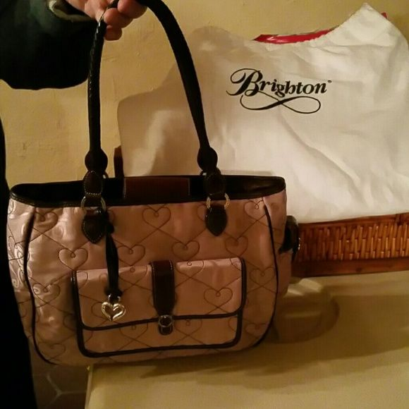 Handbag Medium size light pink quilted with brown leather trim Brighton Bags Shoulder Bags