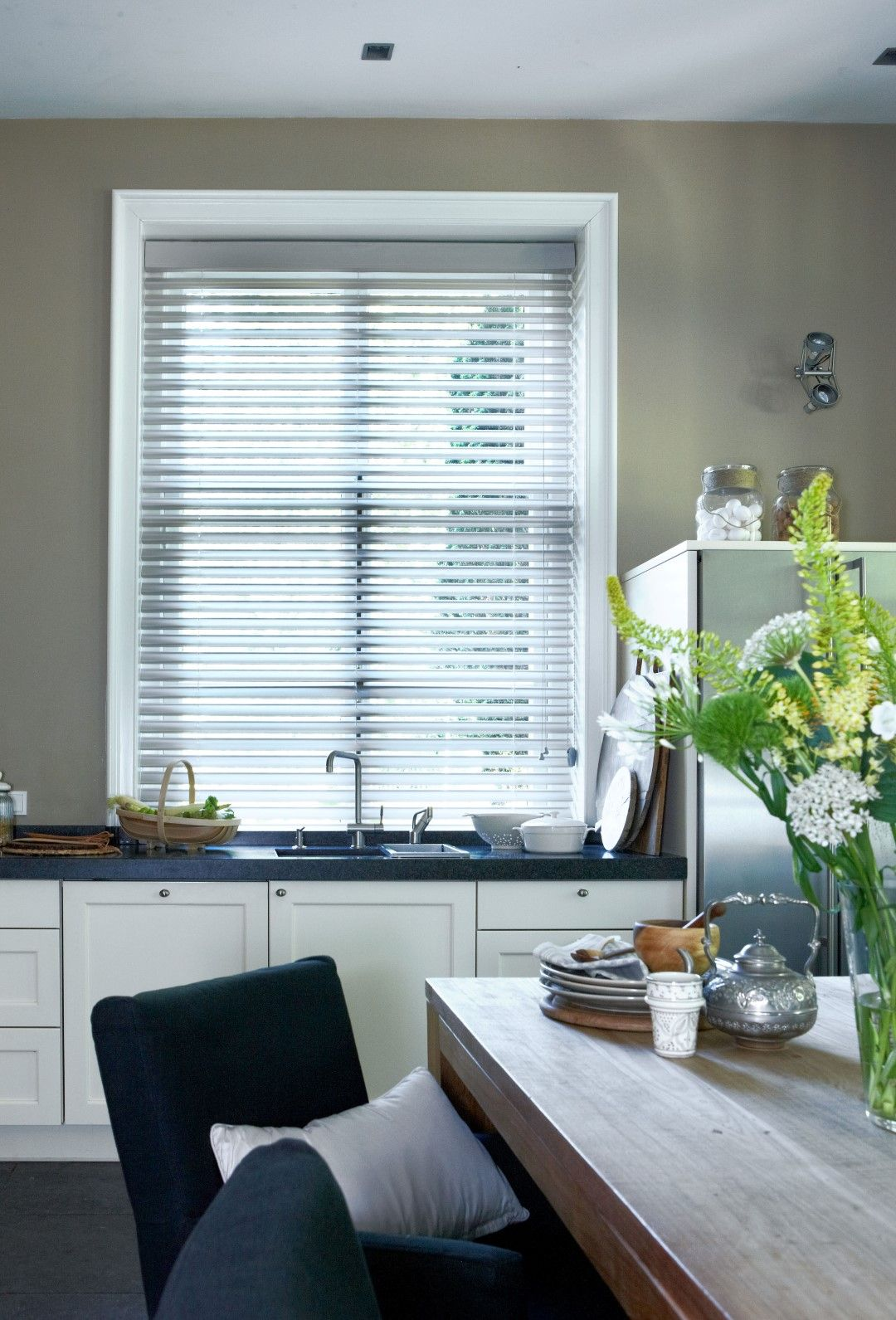 Classic butterfly blinds complement contemporary kitchen decor ...