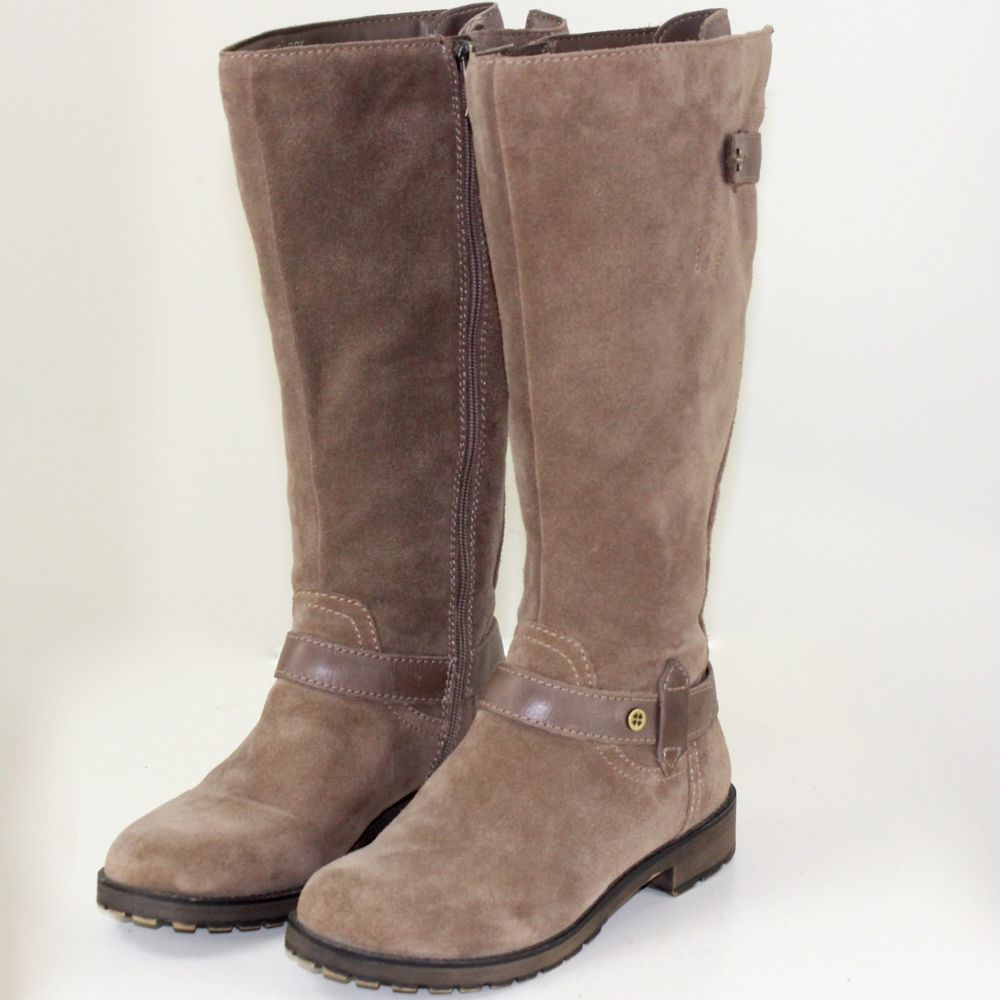 2bcf9e547678 Wide Calf Tall Boots 7.5M Brown Suede Faux Fur Lining Naturalizer N5 Tanina   Naturalizer  RidingBoots