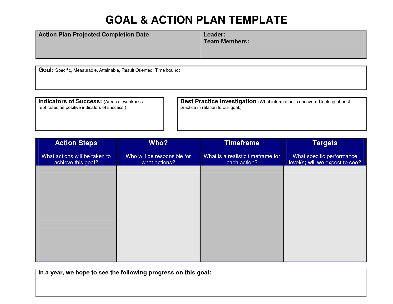 Goal Action Plan Template