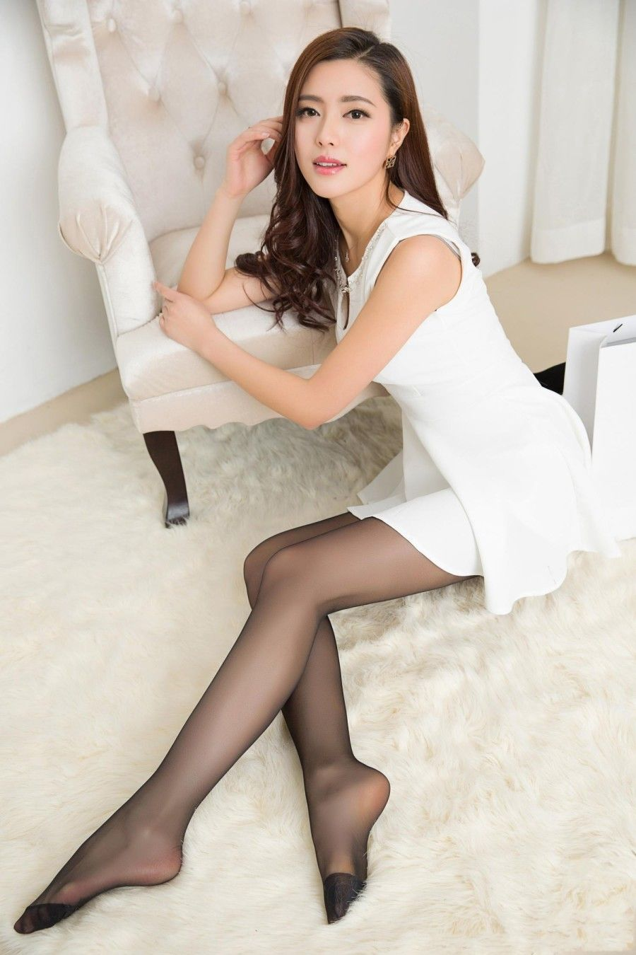 Sexy White Dress With Sheer Black Pantyhose Beautiful