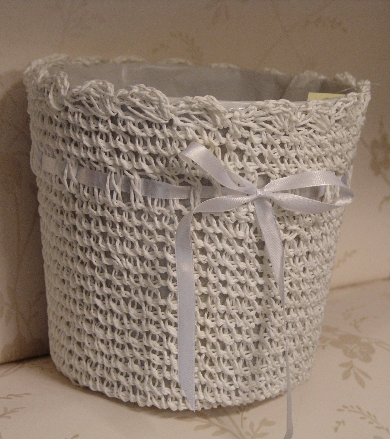 Shabby Chic Vintage Style White Crochet with Ribbon Waste Paper