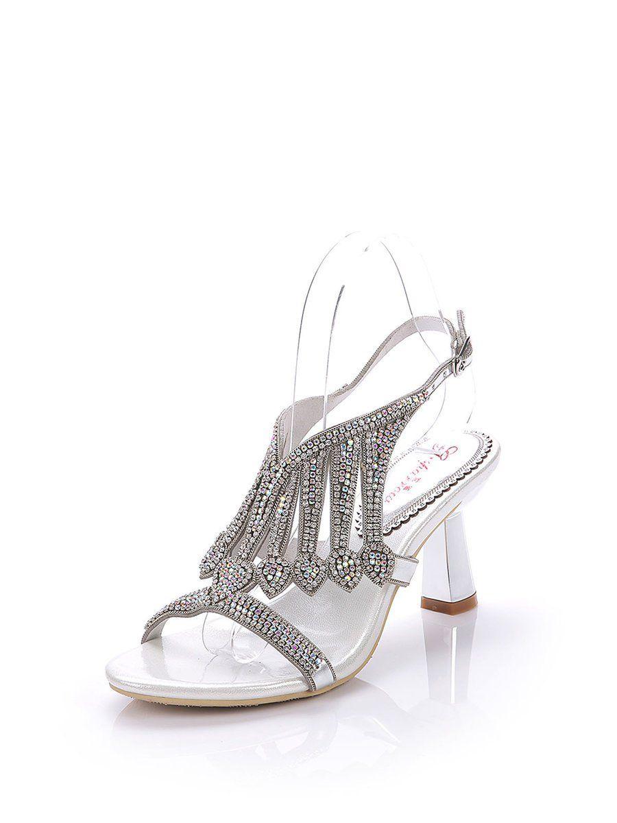 96baceedbb897 Shop Sandals - Silver Rhinestone Dress Spring Fall Spool Heel PU Sandal  online. Discover unique designers fashion at StyleWe.com.