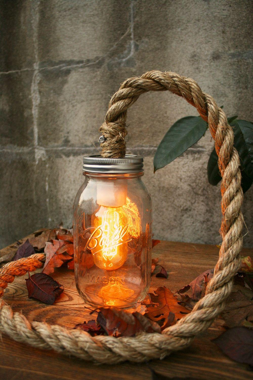 Mason Jar Lighting Rustic Wedding Decor Glass Lighting Shabby Chic Lighting Night Light or Desk Lamp - Vintage Industrial Rope Design. $119.00, via Etsy.