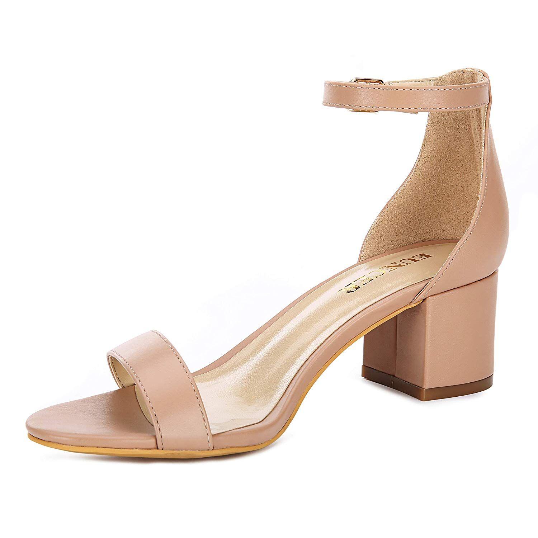983b2301740a4 Eunicer Women's Single Band Classic Chunky Block Low Heel Sandals ...