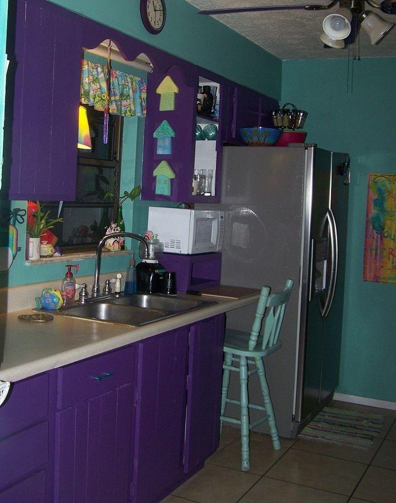 Purple Paradise   Purple kitchen, Purple cabinets, House ...