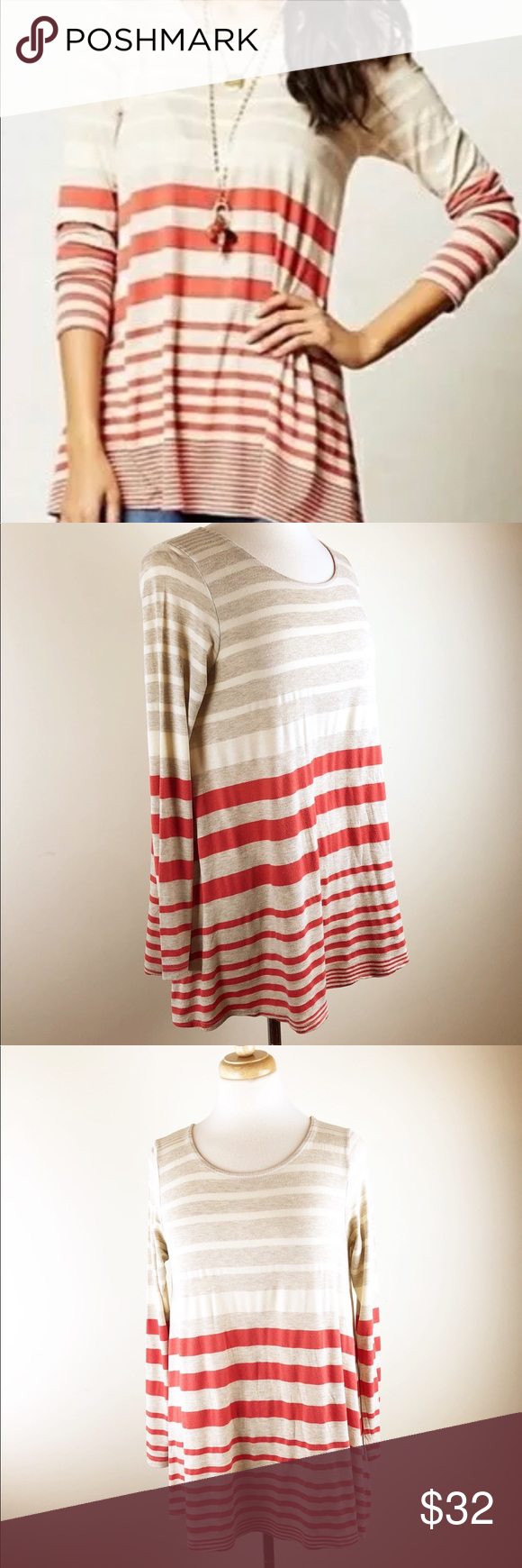 93fc2816561 Anthropologie Puebla Darcy Swing Tunic Striped M Anthropologie Puebla long  sleeve tunic swing top. Horizontal stripes in orange cream And oatmeal, ...