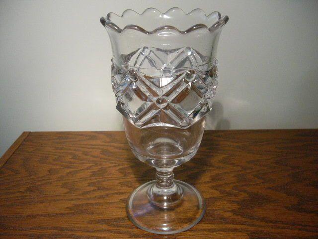 """EAPG Vintage Bryce Higbee Glass """"Nailhead"""" Celery Vase"""