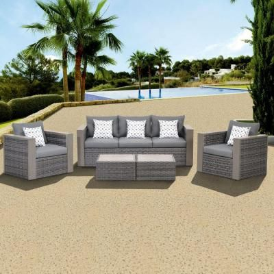 Atlantic, Mustang 5 Piece All Weather Wicker Patio Conversation Set With  Grey Color