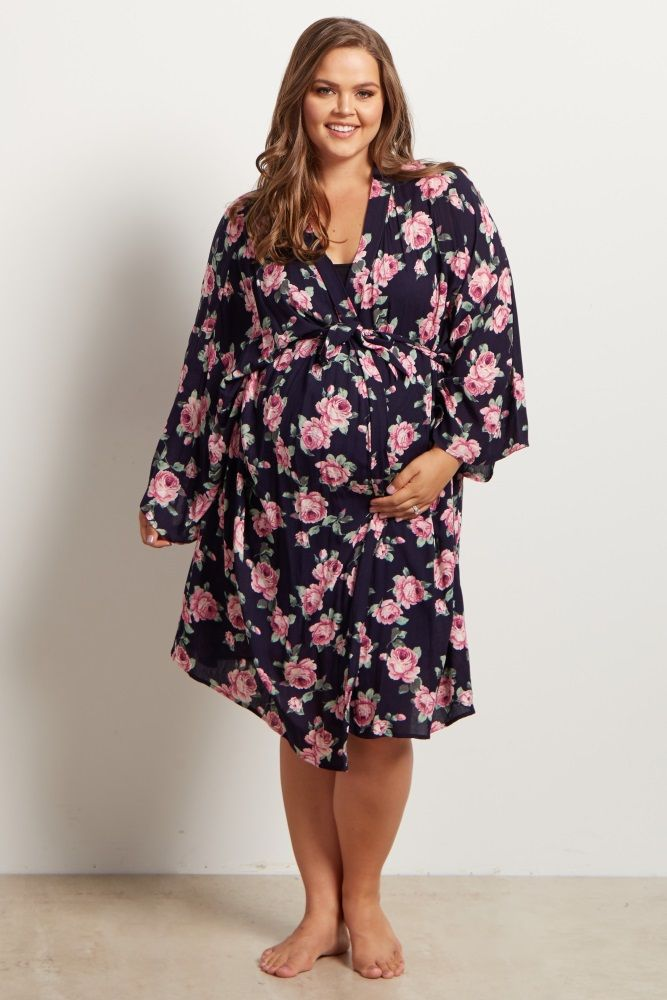 42c91f06c0ee9 Navy Blue Floral Delivery/Nursing Maternity Plus Size Robe | things ...