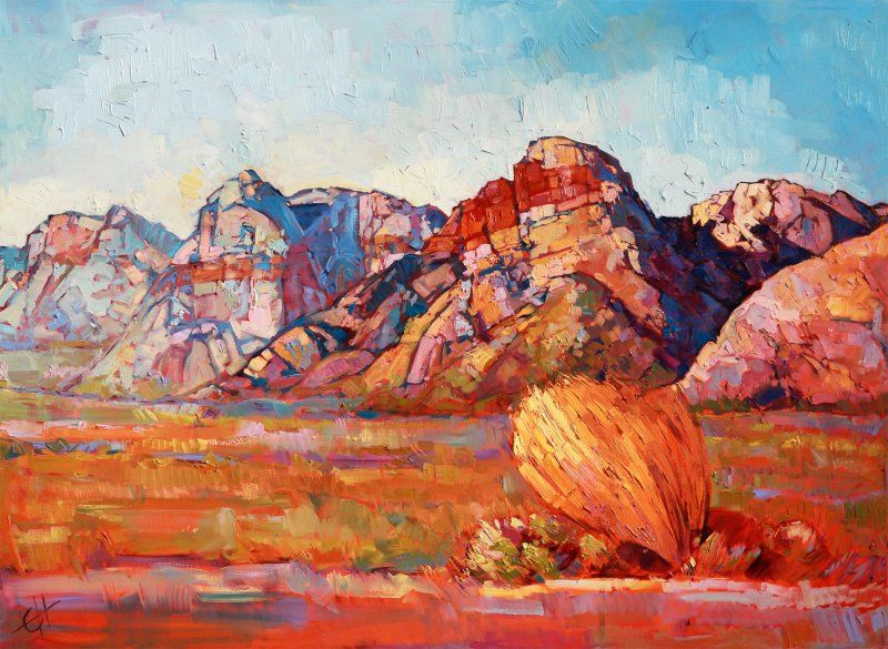 Rainbow Mountains Red Rock Canyon Original Oil Painting By