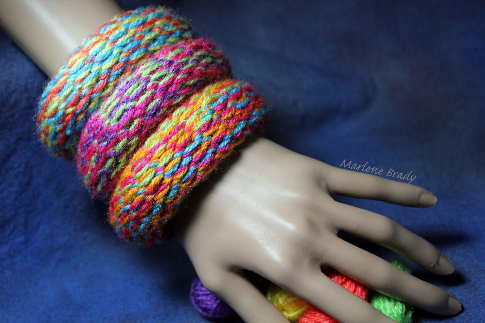 Made by Marlene Brady. Bangles made on a knitting loom ...