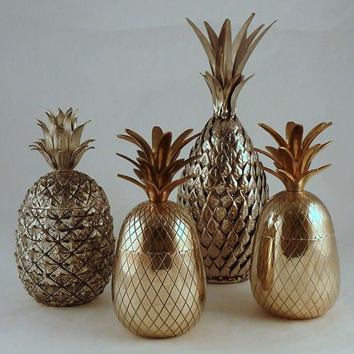 A group of 1960s large brass and silver metal pineapple ice buckets - just  add champagne