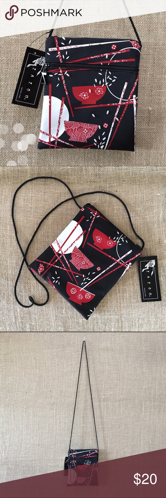 """Zazou Chopstick Bohemian Sac Sweet little crossbody with a matte silky finish and sewn-on mini pearlescent beads making 3D rice on the front of the bag (such a great detail!) From a boutique shop, pricetag still attached and says $27.95. Measures 6.5""""w x 8""""h with a 24"""" strap drop. 2 zipper pockets with black interior lining. Only flaw: chipping on top zipper (revealing silver) but I purchased it like this. Barely noticeable: you can see it in photo #4 if you get out your magnifying glass🔍…"""