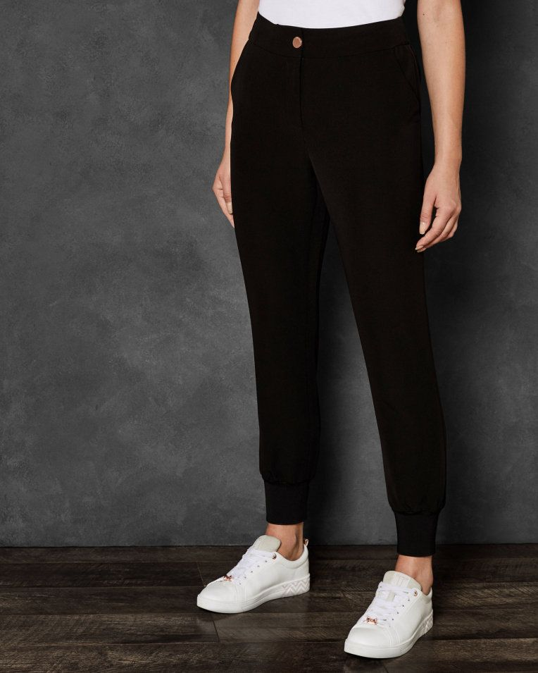 58441e247 Ribbed cuff relaxed trousers - Black