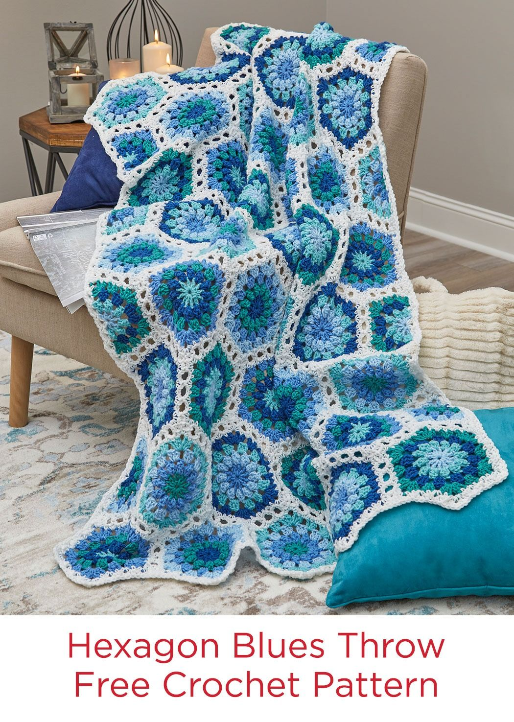 Hexagon Blues Throw Free Crochet Pattern in Red Heart Super