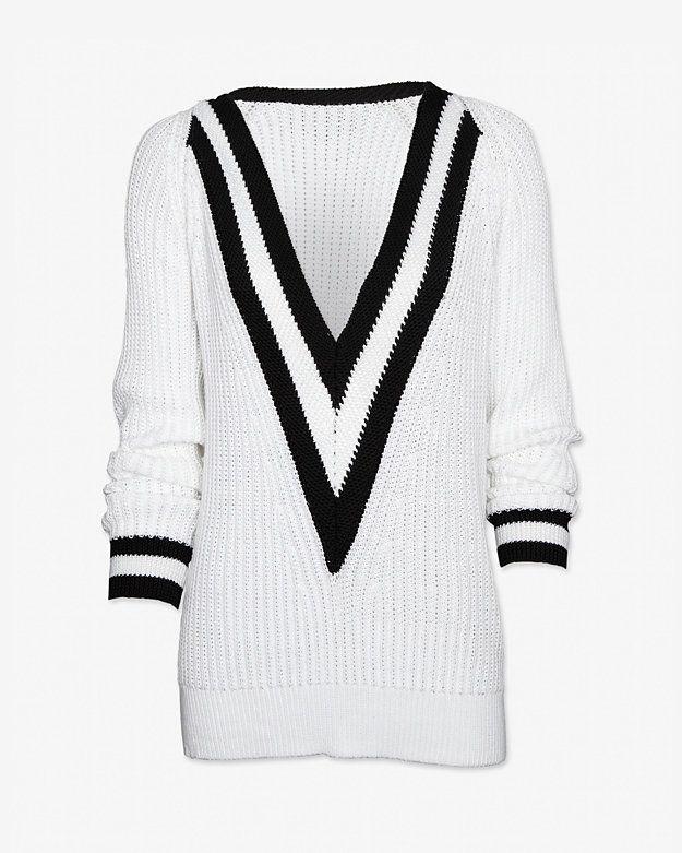rag & bone Talia Deep V Varsity Sweater Style# W242667KC $395.00 ...
