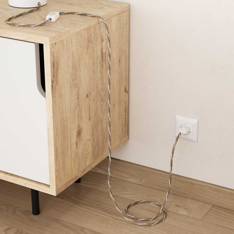 Fil Electrique Torsade Recouvert En Jute Coton Et Lin Naturel Country Tn07 Cache Cable Fil Electrique Lampe A Poser Bois
