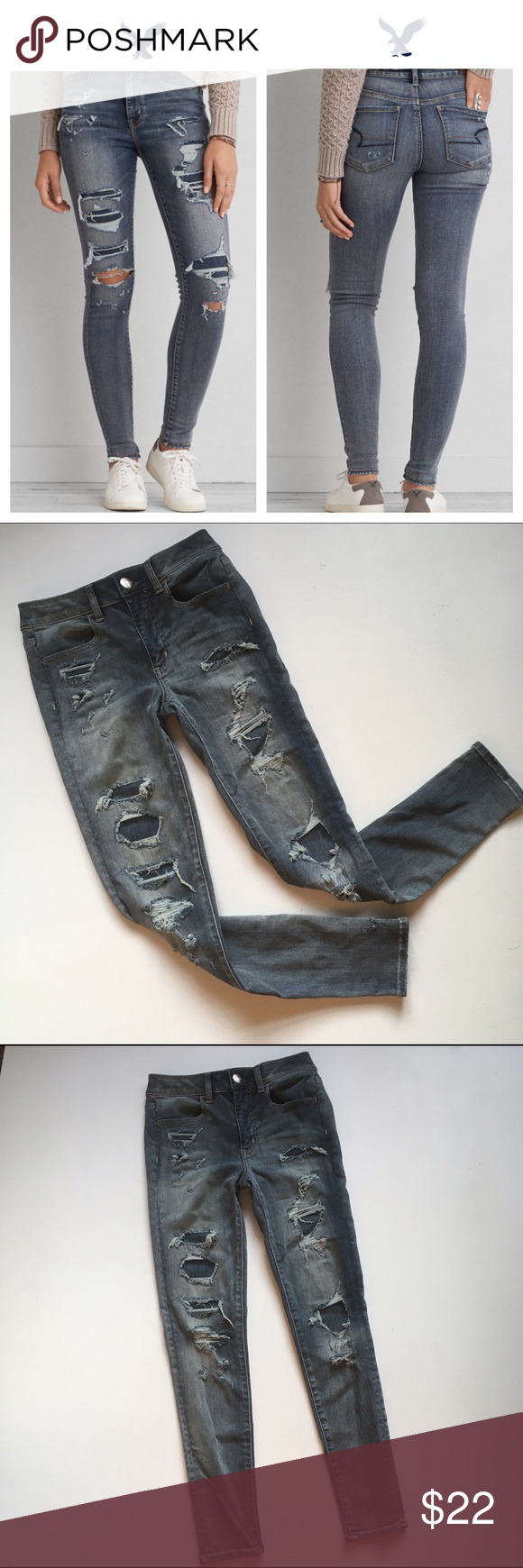 AEO DENIM X CAFE HI-RISE JEGGING AEO DENIM X CAFE HI-RISE DESTROYED JEGGING super-super stretch. Size 4 American Eagle Outfitters Jeans Skinny
