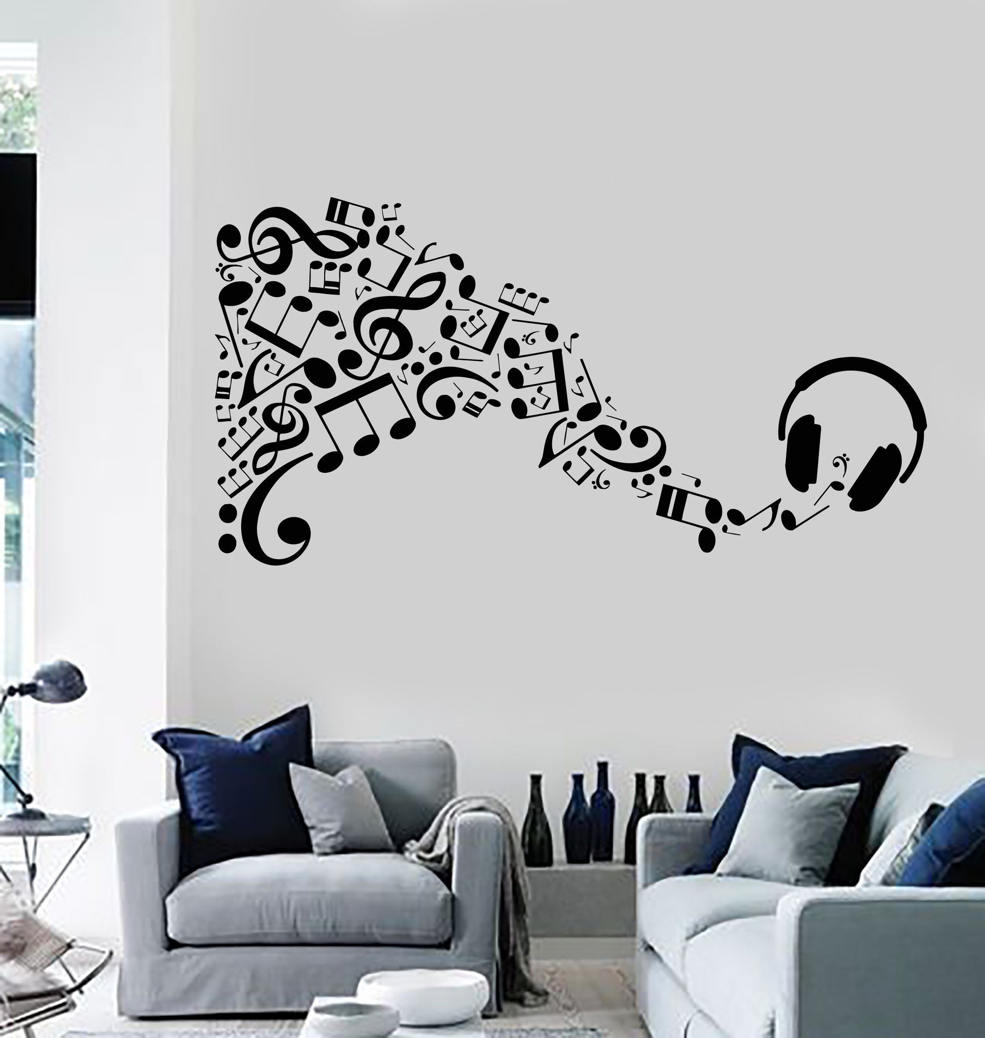 Vinyl Wall Decal Headphones Musical Notes Music Art Stickers