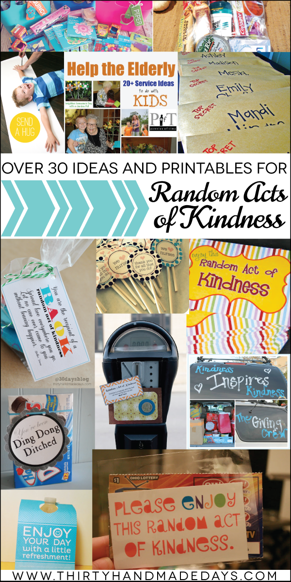 Over 30 #randomactsofkindness ideas and #printables