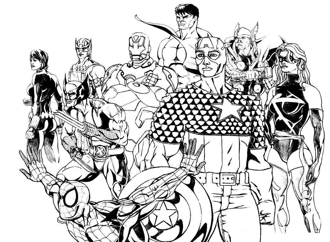 free coloring page coloring adult avengers coloring page of the characters of the comic book the avengers waiting before another battle - Avengers Coloring Book