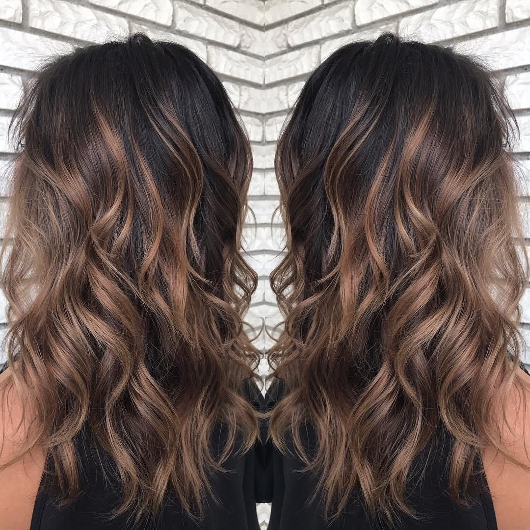 Shiny Light Brown Balayage With Black Roots Hair Styles Balayage Hair Balayage Hair Caramel
