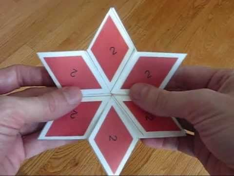Shows various flexes on a 6 sided rhombus hexaflexagon, including - hexaflexagon template