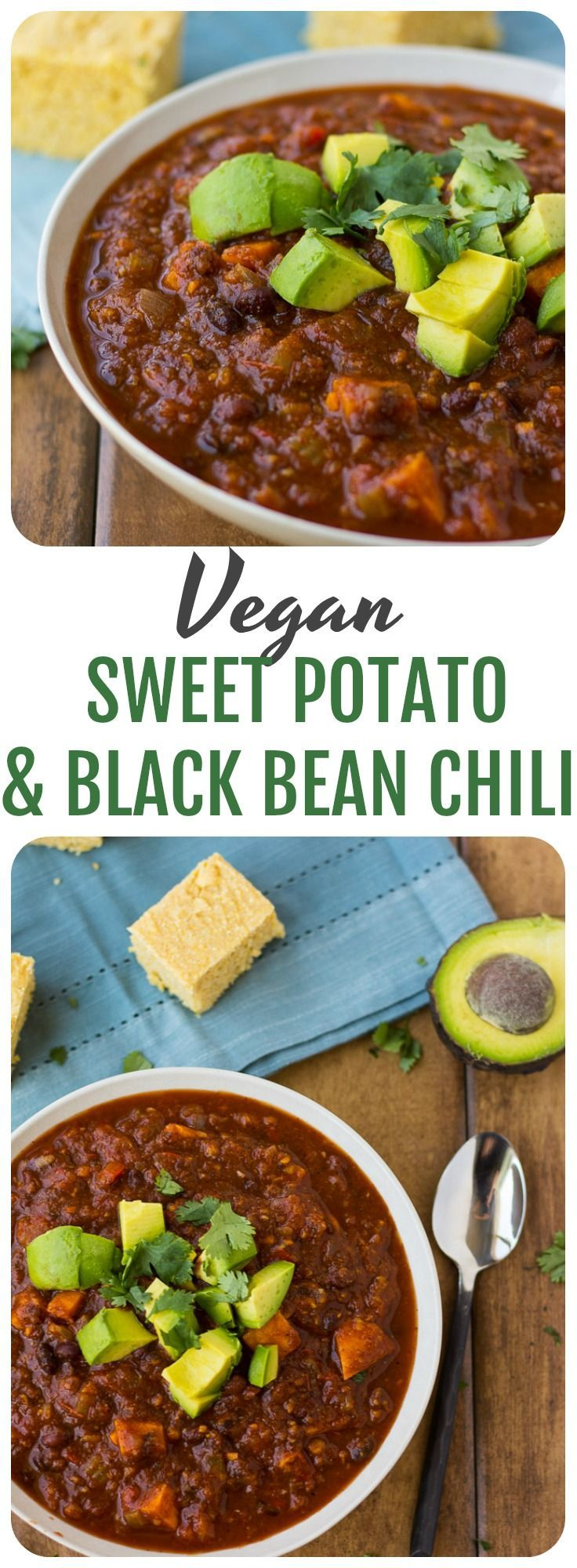 Vegan Sweet Potato & Black Bean Chili- Mildly spiced, kid-friendly and nutrient dense.
