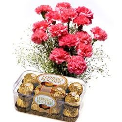 Check out our New Product  Supernova Pink Flower Combos Bunch of 12 Pink Carnations (Dark/light)with 200gm Ferrero Rocher.  Rs.1,237