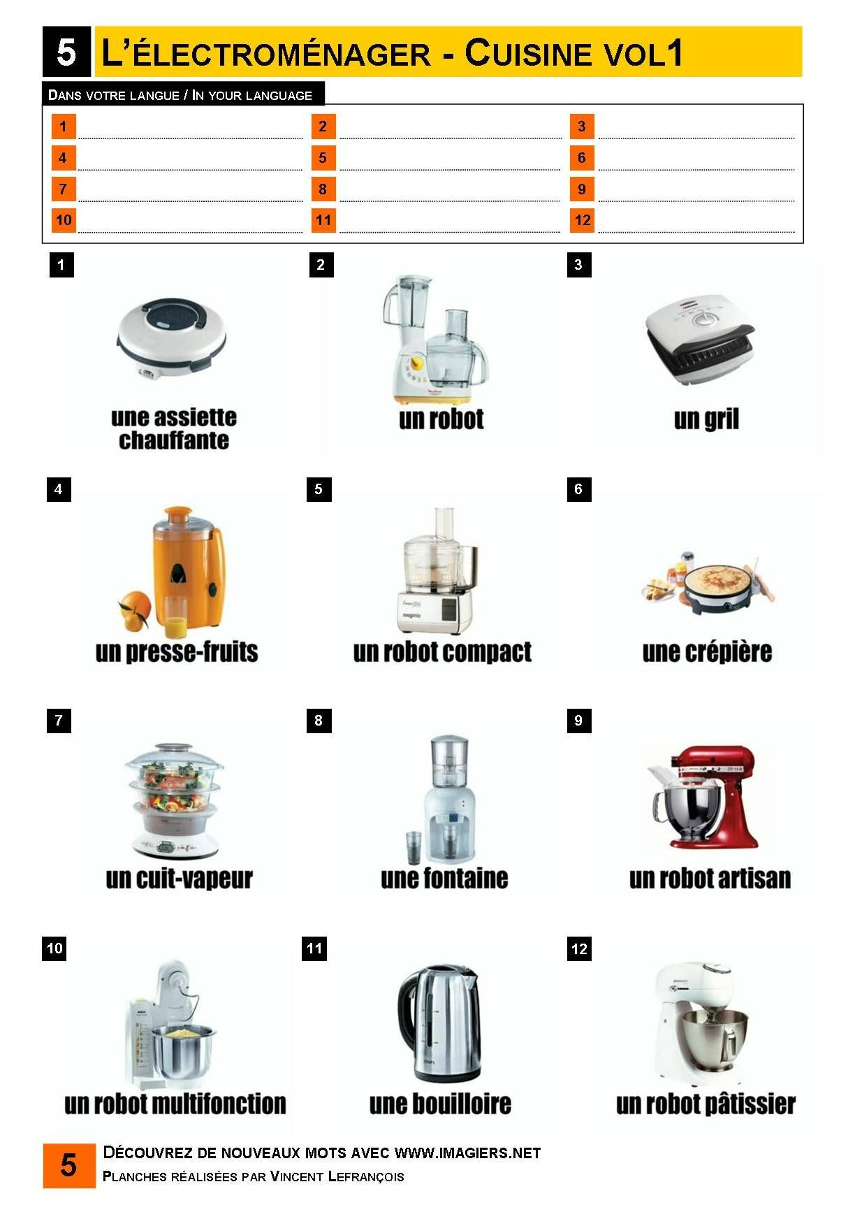 L 39 lectrom nager cuisine 1 vocabulaire for Vocabulaire ustensiles de cuisine