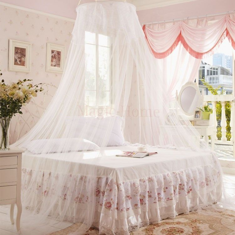 Luxury Elegant Round Bed Canopy Curtain Fits Most Bed