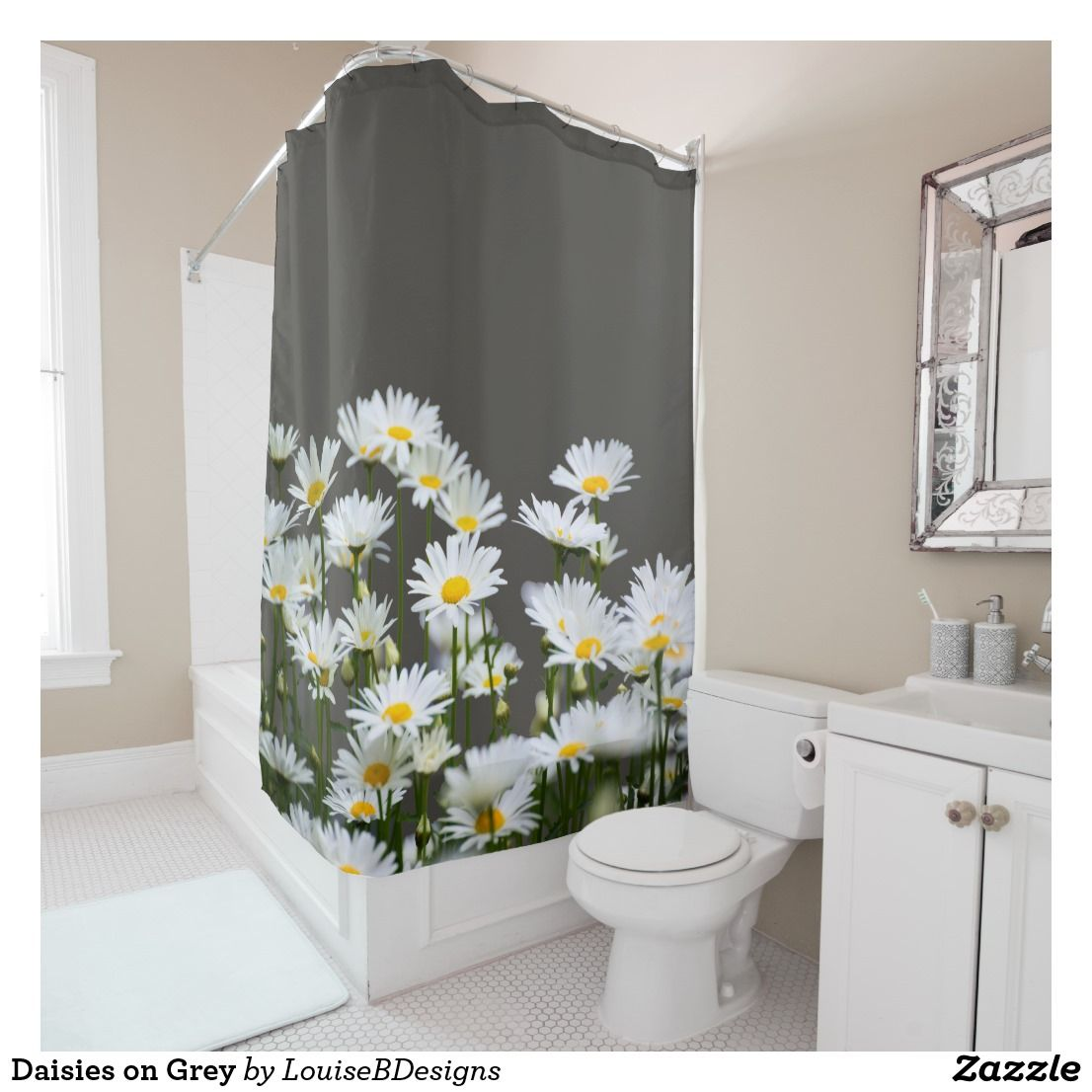 Daisies On Grey Shower Curtain Zazzle Com Gray Shower Curtains