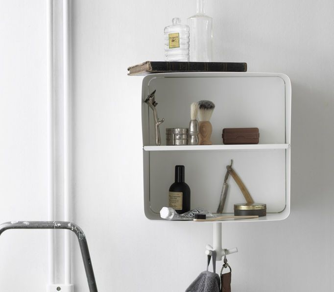 A White Wall Shelf In Powder Coated Steel With A Hook For Towels Underneath Bathroom White Wall Shelves Bathroom Storage