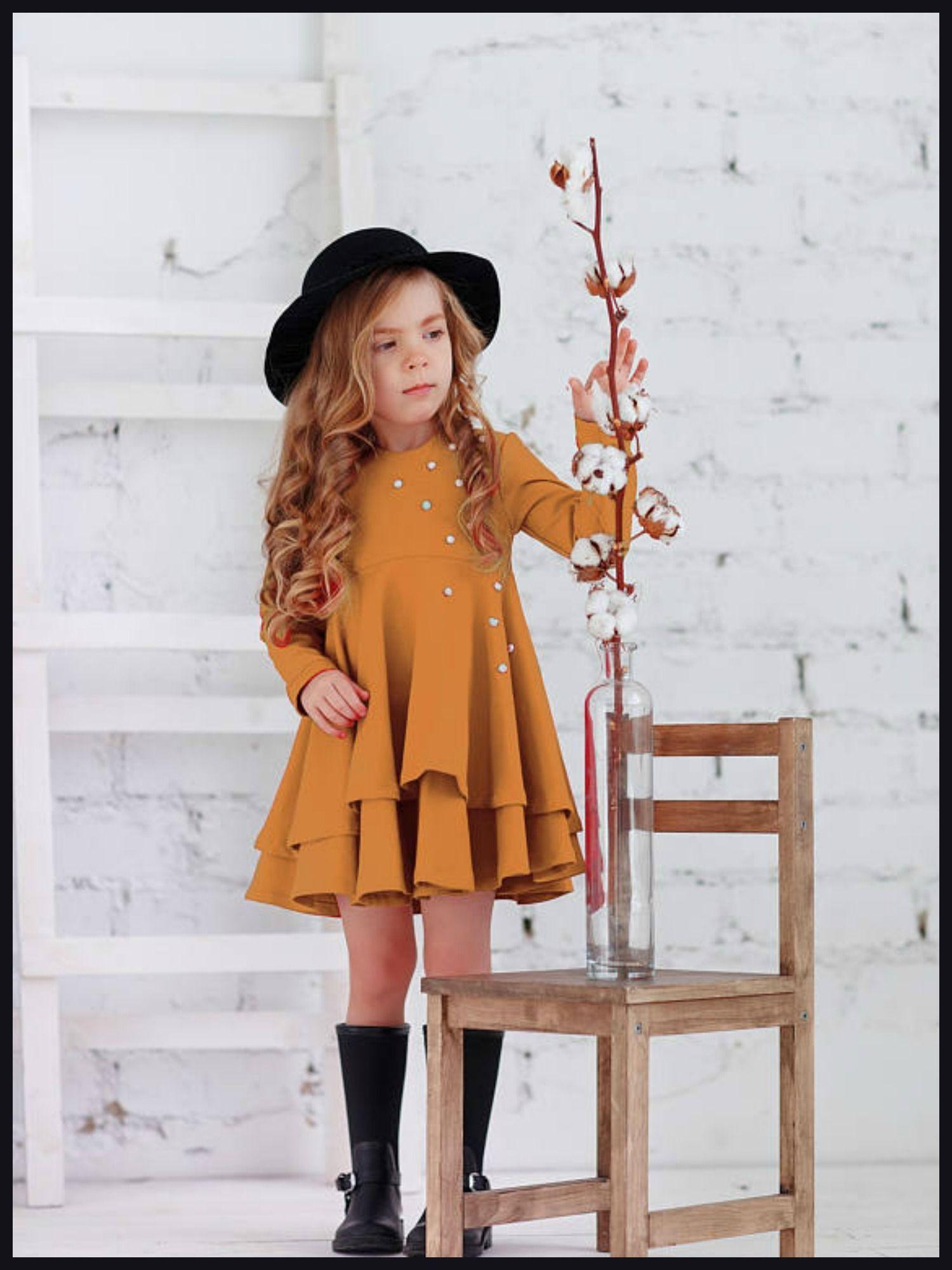 Mustard cotton girls dresseaster mustard toddler dresslong sleeve
