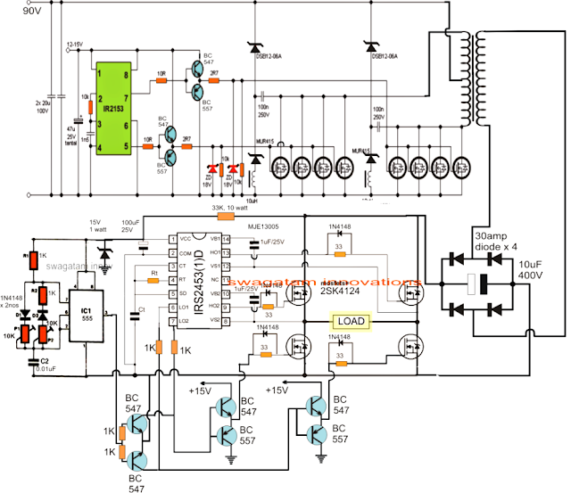 power inverter circuit with built in charger electronic circuit