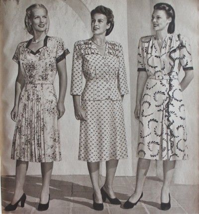 06297cbfa5c08 1940s Plus Size Fashion Advice. These three dresses are suited for plus  sizes because they lack collars