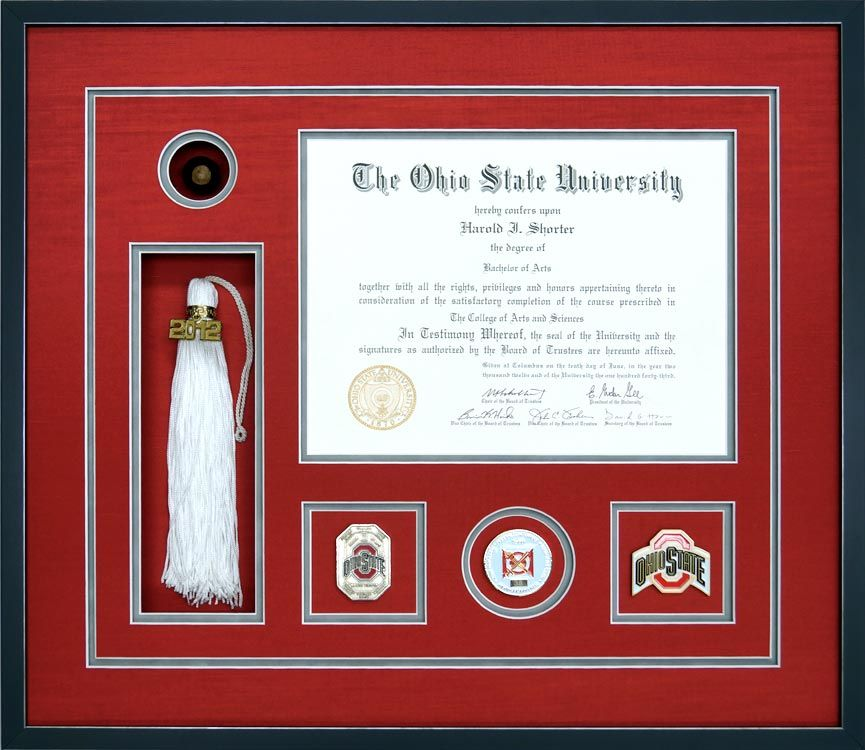 A Custom Ohio State University Diploma Frame With